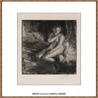 瑞典画家佐恩AndersZorn素描作品高清图片瑞典艺术大师佐恩的线条素描佐恩原作线稿高清图片下载 (79)