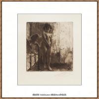 瑞典画家佐恩AndersZorn素描作品高清图片瑞典艺术大师佐恩的线条素描佐恩原作线稿高清图片下载 (33)