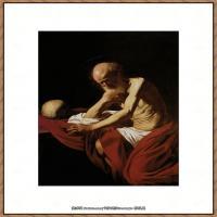 意大利画家卡拉瓦乔Caravaggio油画人物高清图片Saint Jerome in Meditation (1606)