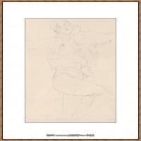 奥地利绘画大师克里姆特Austria Gustav Klimt素描手稿人物素描经典素描高清图片克里姆特速写 (12)
