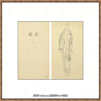 奥地利绘画大师克里姆特Austria Gustav Klimt素描手稿人物素描经典素描高清图片克里姆特速写 (61)