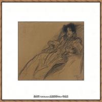 奥地利绘画大师克里姆特Austria Gustav Klimt素描手稿人物素描经典素描高清图片克里姆特速写 (29)