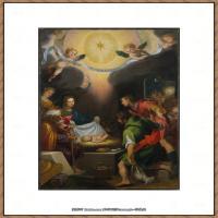 意大利画家卡拉瓦乔Caravaggio油画人物高清图片The Adoration of the Shepherds wi