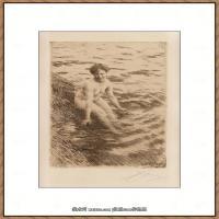 瑞典画家佐恩AndersZorn素描作品高清图片瑞典艺术大师佐恩的线条素描佐恩原作线稿高清图片下载 (30)