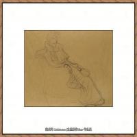 奥地利绘画大师克里姆特Austria Gustav Klimt素描手稿人物素描经典素描高清图片克里姆特速写 (32)