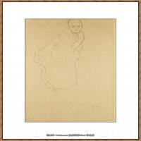 奥地利绘画大师克里姆特Austria Gustav Klimt素描手稿人物素描经典素描高清图片克里姆特速写 (34)
