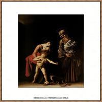 意大利画家卡拉瓦乔Caravaggio油画人物高清图片Madonna and Child with St