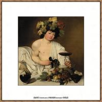 意大利画家卡拉瓦乔Caravaggio油画人物高清图片Bacco (1597), Firenze-
