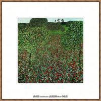 奥地利画家克里姆特Gustav Klimt油画作品高清图片罂栗的原野-
