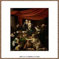 意大利画家卡拉瓦乔Caravaggio油画人物高清图片Madonna del Rosario