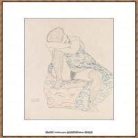 奥地利绘画大师克里姆特Austria Gustav Klimt素描手稿人物素描经典素描高清图片克里姆特速写 (15)