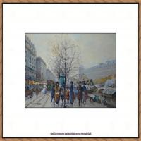 法国印象派艺术家尤金加林拉洛Eugene Galien Laloue巴黎风景印象油画高清大图 (51)