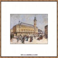 法国印象派艺术家尤金加林拉洛Eugene Galien Laloue巴黎风景印象油画高清大图 (93)