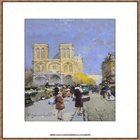 法国印象派艺术家尤金加林拉洛Eugene Galien Laloue巴黎风景印象油画高清大图 (9)