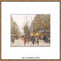 法国印象派艺术家尤金加林拉洛Eugene Galien Laloue巴黎风景印象油画高清大图 (13)
