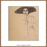 奥地利绘画大师埃贡席勒 Egon Schiele油画作品高清大图席勒绘画作品高清图片 (52)