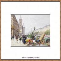 法国印象派艺术家尤金加林拉洛Eugene Galien Laloue巴黎风景印象油画高清大图 (77)
