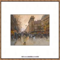 法国印象派艺术家尤金加林拉洛Eugene Galien Laloue巴黎风景印象油画高清大图 (19)