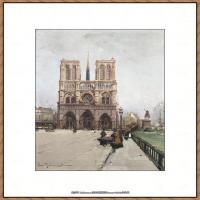 法国印象派艺术家尤金加林拉洛Eugene Galien Laloue巴黎风景印象油画高清大图 (55)