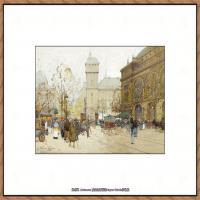 法国印象派艺术家尤金加林拉洛Eugene Galien Laloue巴黎风景印象油画高清大图 (15)