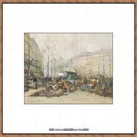 法国印象派艺术家尤金加林拉洛Eugene Galien Laloue巴黎风景印象油画高清大图 (58)