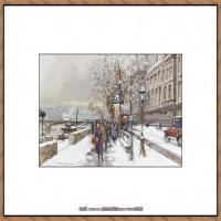 法国印象派艺术家尤金加林拉洛Eugene Galien Laloue巴黎风景印象油画高清大图 (69)
