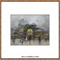 法国印象派艺术家尤金加林拉洛Eugene Galien Laloue巴黎风景印象油画高清大图 (71)
