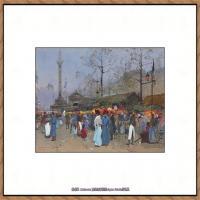 法国印象派艺术家尤金加林拉洛Eugene Galien Laloue巴黎风景印象油画高清大图 (20)