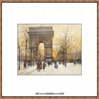 法国印象派艺术家尤金加林拉洛Eugene Galien Laloue巴黎风景印象油画高清大图 (64)