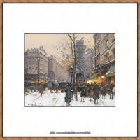 法国印象派艺术家尤金加林拉洛Eugene Galien Laloue巴黎风景印象油画高清大图 (61)