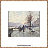 法国印象派艺术家尤金加林拉洛Eugene Galien Laloue巴黎风景印象油画高清大图 (83)