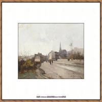 法国印象派艺术家尤金加林拉洛Eugene Galien Laloue巴黎风景印象油画高清大图 (57)