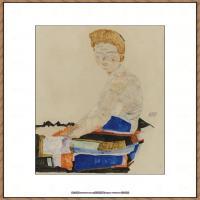 奥地利绘画大师埃贡席勒 Egon Schiele油画作品高清大图席勒绘画作品高清图片 (55)