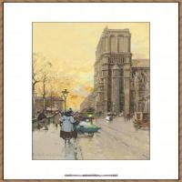法国印象派艺术家尤金加林拉洛Eugene Galien Laloue巴黎风景印象油画高清大图 (66)