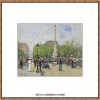 法国印象派艺术家尤金加林拉洛Eugene Galien Laloue巴黎风景印象油画高清大图 (43)