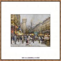 法国印象派艺术家尤金加林拉洛Eugene Galien Laloue巴黎风景印象油画高清大图 (86)