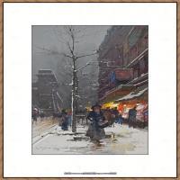 法国印象派艺术家尤金加林拉洛Eugene Galien Laloue巴黎风景印象油画高清大图 (10)