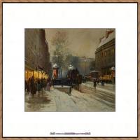 法国印象派艺术家尤金加林拉洛Eugene Galien Laloue巴黎风景印象油画高清大图 (8)