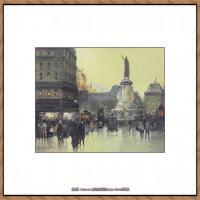 法国印象派艺术家尤金加林拉洛Eugene Galien Laloue巴黎风景印象油画高清大图 (70)