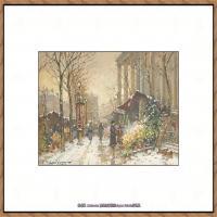 法国印象派艺术家尤金加林拉洛Eugene Galien Laloue巴黎风景印象油画高清大图 (23)