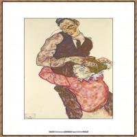 奥地利绘画大师埃贡席勒 Egon Schiele油画作品高清大图席勒绘画作品高清图片 (53)