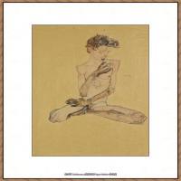 奥地利绘画大师埃贡席勒 Egon Schiele油画作品高清大图席勒绘画作品高清图片 (76)