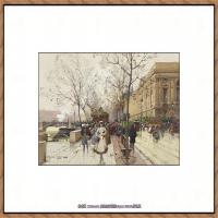 法国印象派艺术家尤金加林拉洛Eugene Galien Laloue巴黎风景印象油画高清大图 (39)
