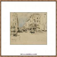 法国印象派艺术家尤金加林拉洛Eugene Galien Laloue巴黎风景印象油画高清大图 (56)