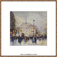 法国印象派艺术家尤金加林拉洛Eugene Galien Laloue巴黎风景印象油画高清大图 (1)