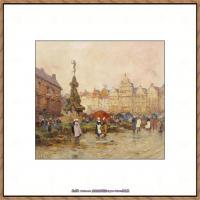 法国印象派艺术家尤金加林拉洛Eugene Galien Laloue巴黎风景印象油画高清大图 (85)