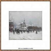 法国印象派艺术家尤金加林拉洛Eugene Galien Laloue巴黎风景印象油画高清大图 (62)
