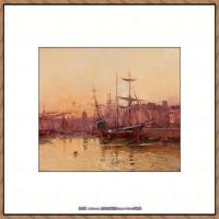 法国印象派艺术家尤金加林拉洛Eugene Galien Laloue巴黎风景印象油画高清大图 (81)