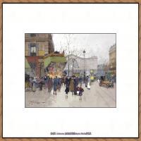 法国印象派艺术家尤金加林拉洛Eugene Galien Laloue巴黎风景印象油画高清大图 (79)