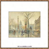 法国印象派艺术家尤金加林拉洛Eugene Galien Laloue巴黎风景印象油画高清大图 (25)